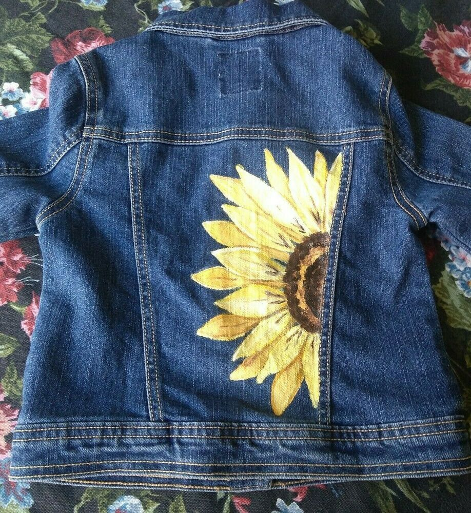 Hand Painted Childrens Place Girls Size S 5 6 Denim Jacket Yellow Sunflower Ooak Thechildrensplac Denim Jacket Diy Paint Diy Denim Jacket Painted Denim Jacket [ 1000 x 918 Pixel ]