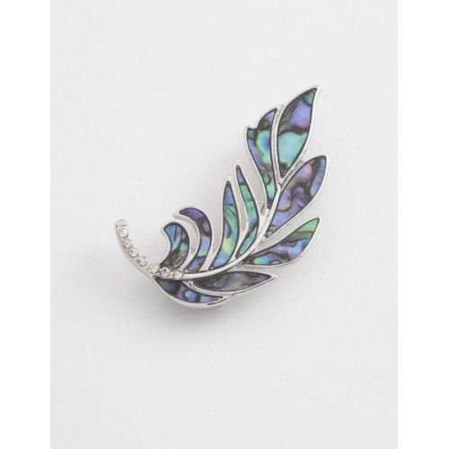 Brooches Store Abalone Paua Green Shell and Clear Crystal Feather Brooch TIxYVB9DS