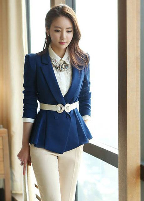 Cheap Work Deep Blue Double Breasted Blazer For Lady In Women Coats