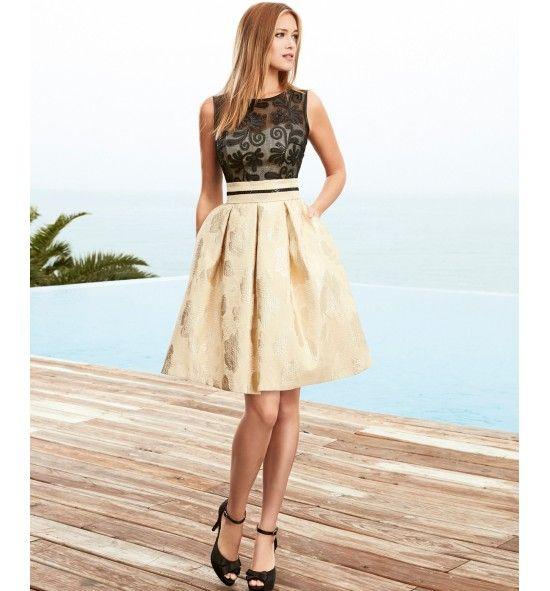 4fa59db26 Vestido de fiesta corto falda brocado. Descubre más vestidos de fiesta  online cortos y de