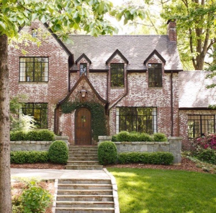 Red Brick With Black Windows Brick Exterior House Tutor Style Homes Exterior Brick