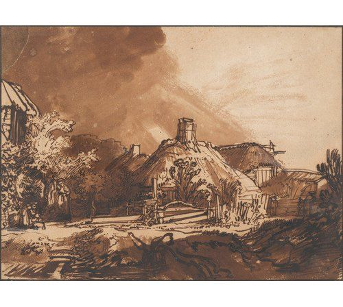 Superb Cottages Before A Stormy Sky By Rembrandt Art Print Magnolia Beutiful Home Inspiration Cosmmahrainfo