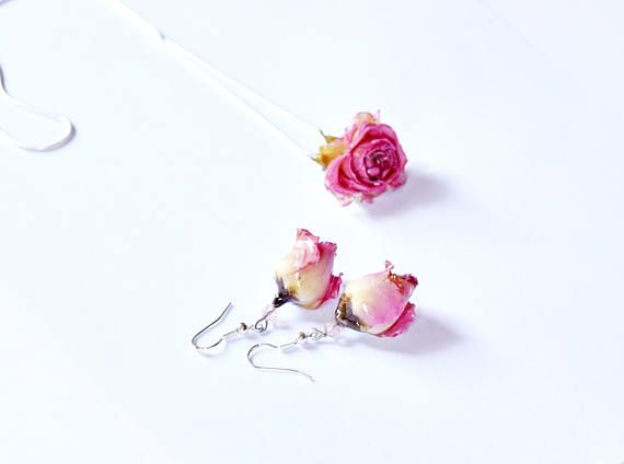 Bride To Be Gift Blush Pink Rose Earring Wedding Gift Rose Flower Earrings For Bride Bridal Drop Jewelry Rose And Silver Bridal Dangle Rose Pink Jewelry Pink Jewelry Bride Jewelry Set