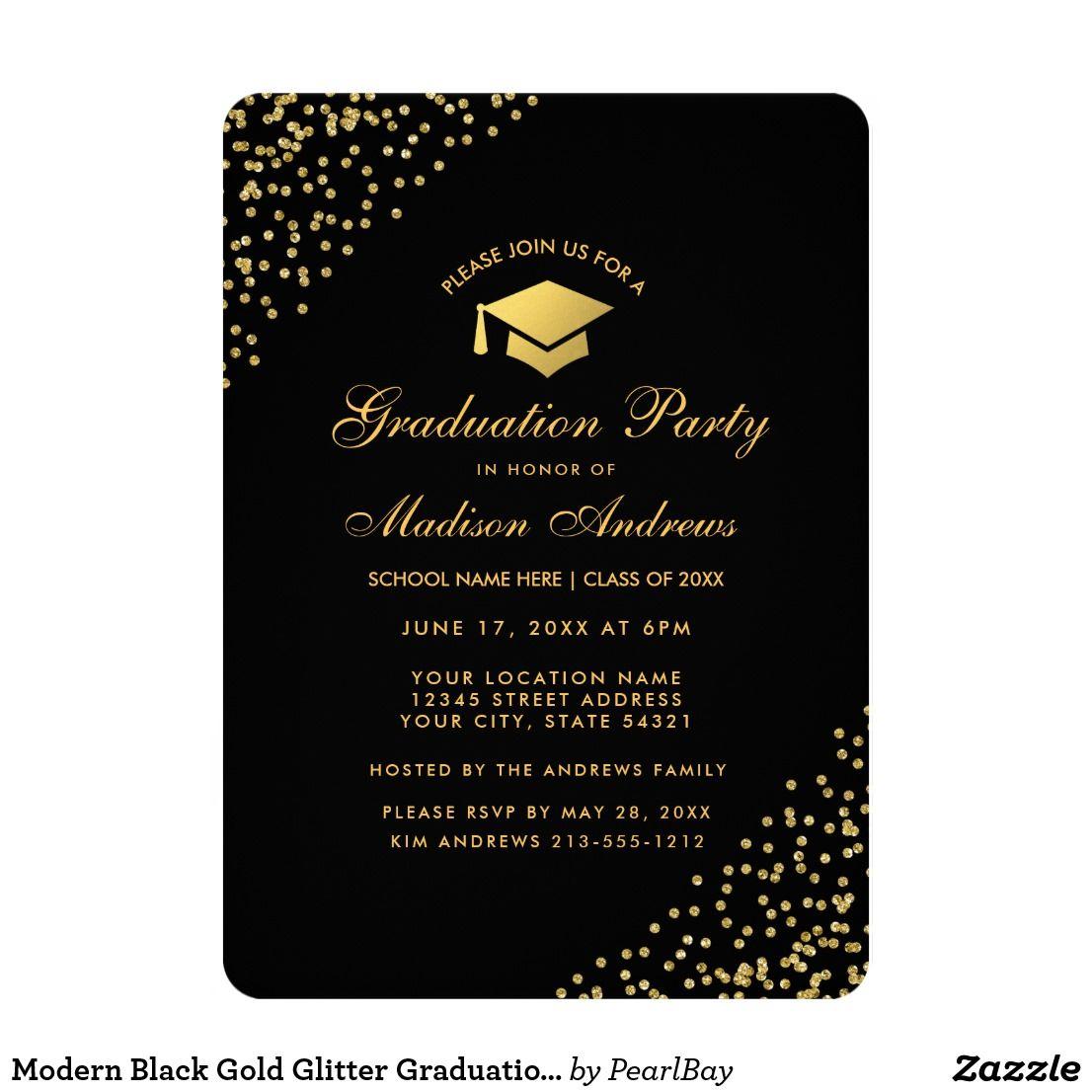 modern black gold glitter graduation party invite in 2018