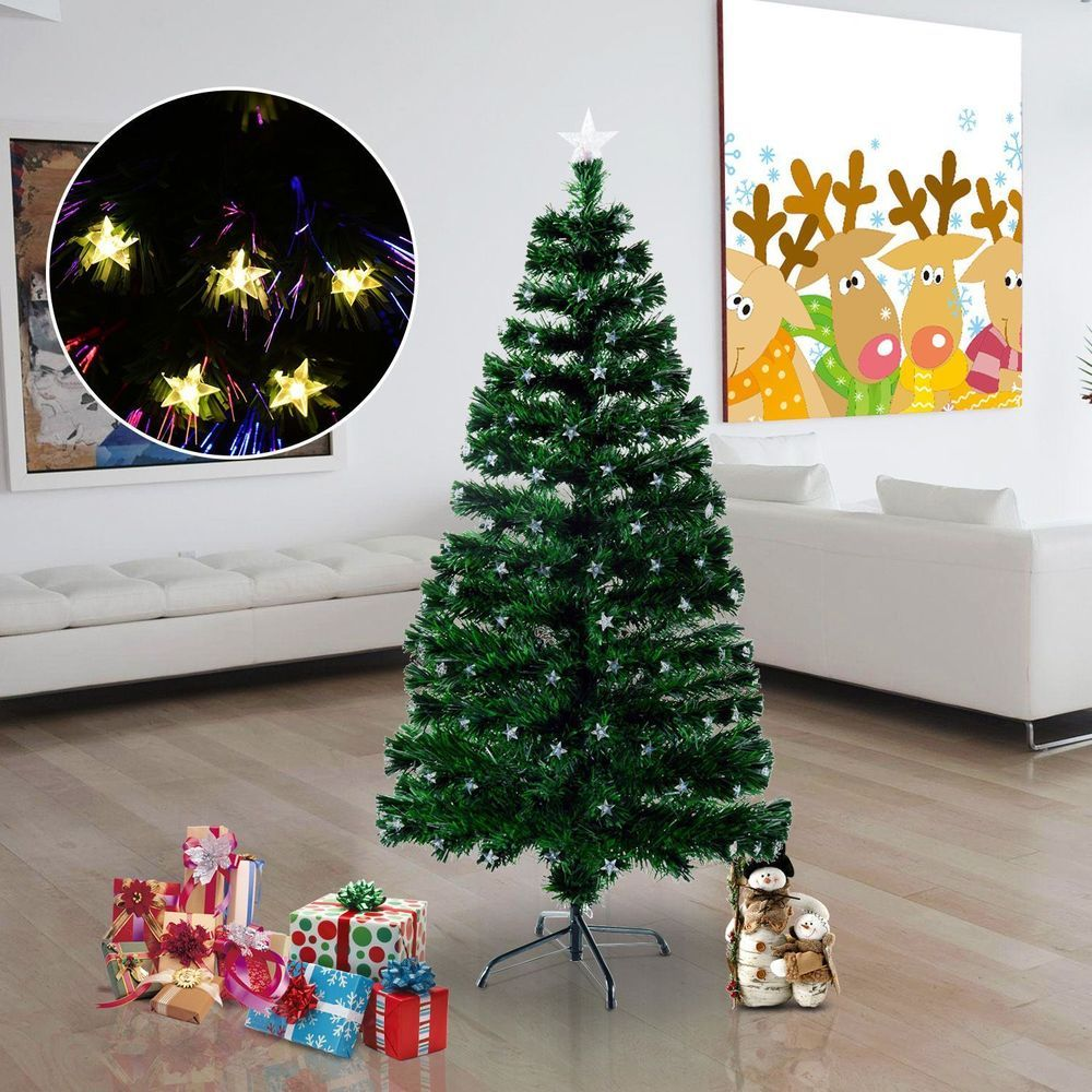 Christmas Tree Xmas Artificial Pine With Lights And Metal Stand Base ...