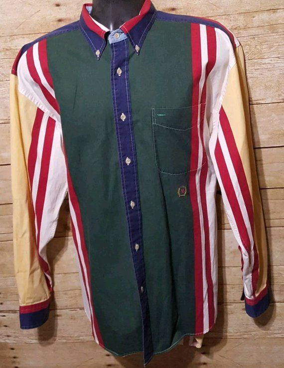 bcce4b33 Vintage Tommy Hilfiger Men's 90's Color Block Striped Long Sleeve Button  Down Dress Shirt Sz L