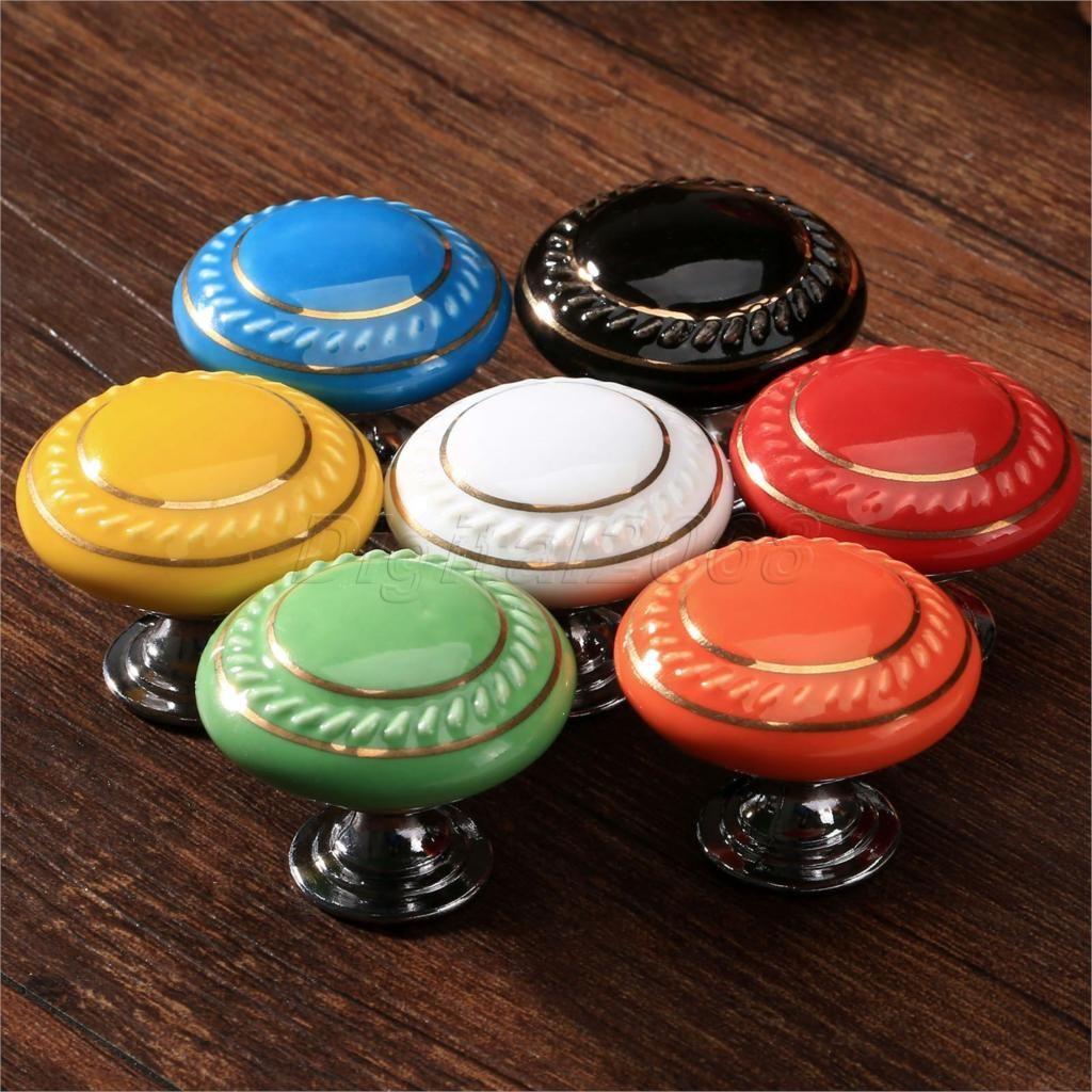 Hot Sale Colorful Round Cabinet Door Knob Drawer Cabinet Cupboard Wardrobe  Ceramic Kitchen Knob Pull Handle