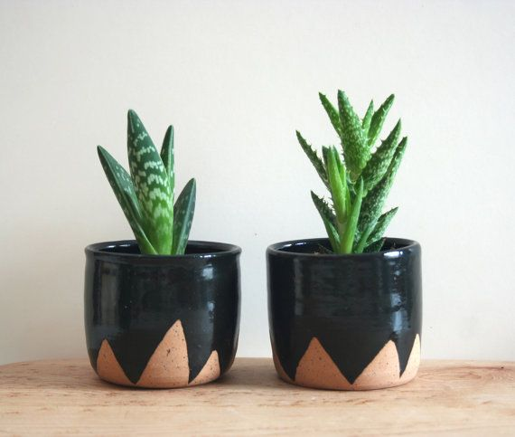 Black Mountain Planters Set Of Two Small Speckled Planters