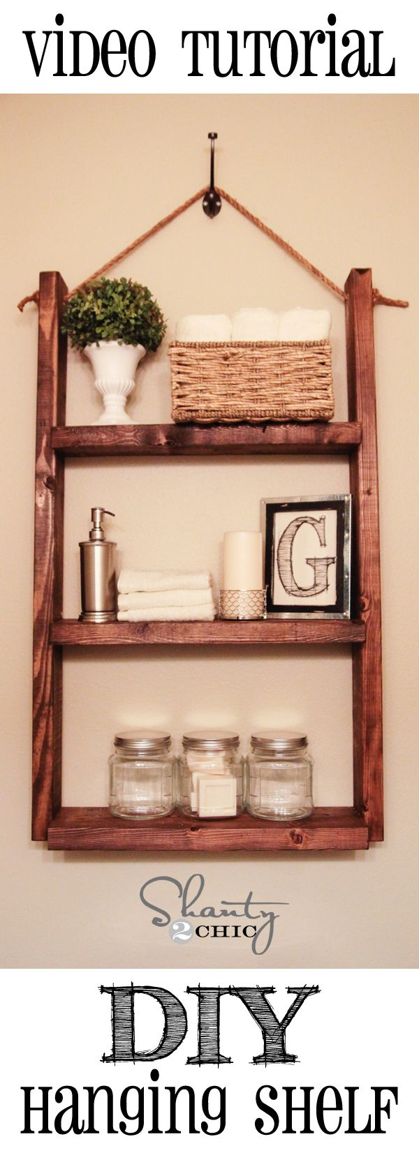 $10 Hanging Shelf! So cute and easy! - ideas for the home ...