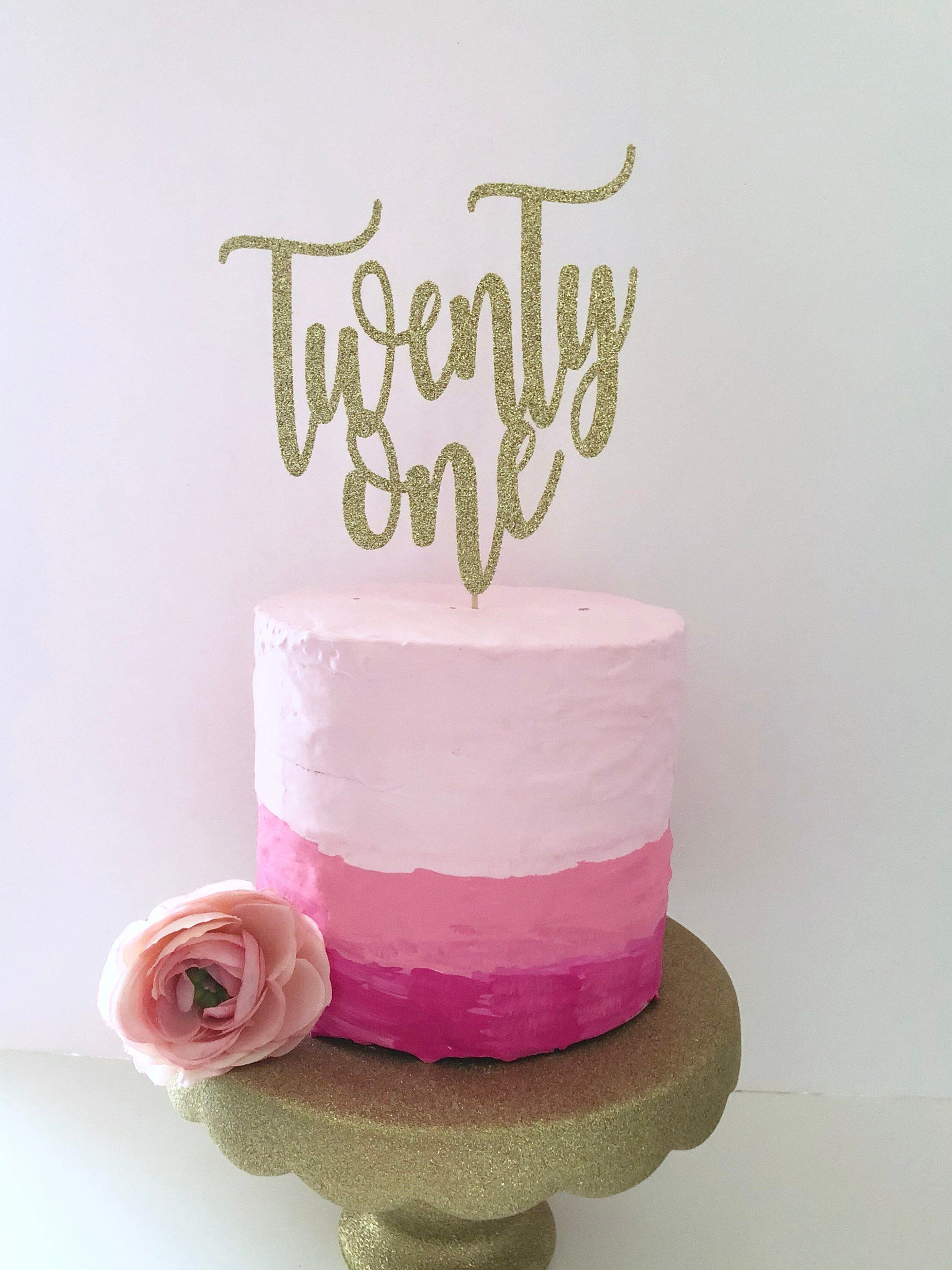 Excited To Share This Item From My Etsy Shop Glitter 21st Birthday Cake Topper Twenty One Gold Lets Party