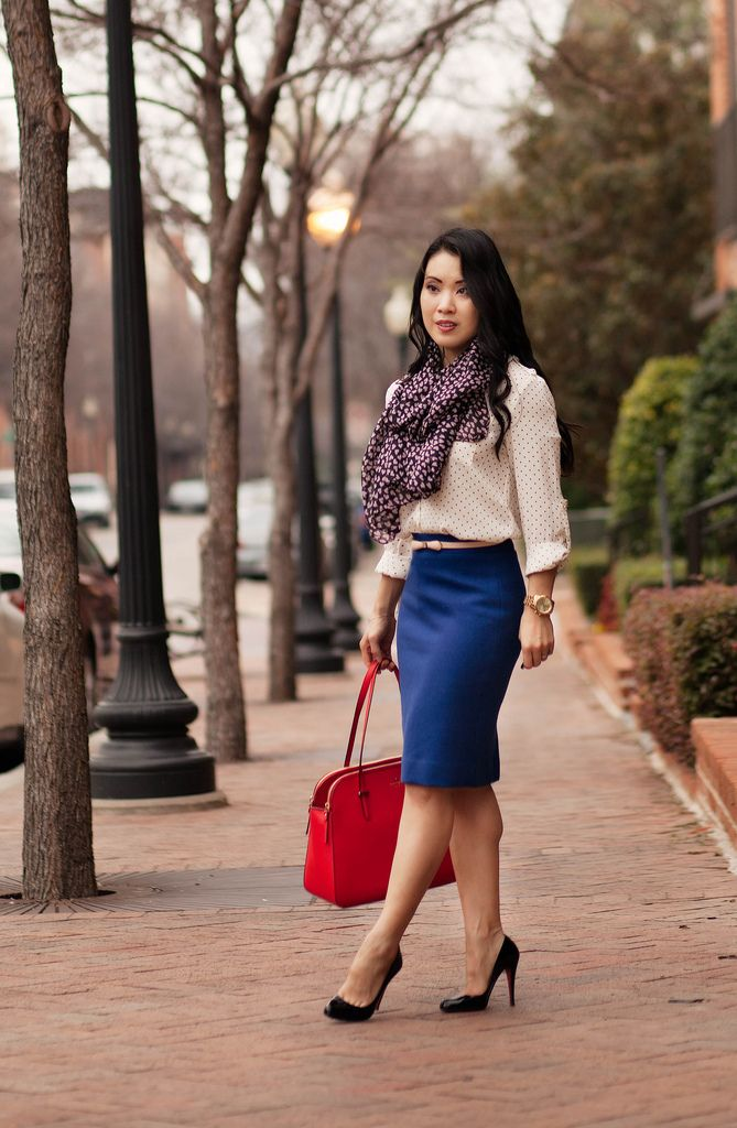 Blue pencil skirt outfit – Modern skirts blog for you