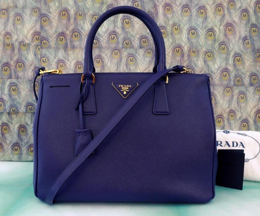 c794d9a8 PRADA Saffiano Large Double Zip Lux Galleria Tote Bag, Purple, NWT ...