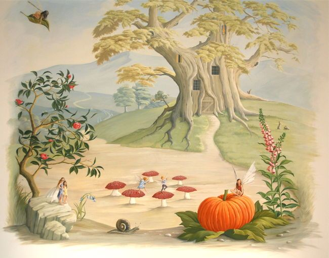 Children\'s mural, tree house, pumpkin, fairy ring, mushroom ...