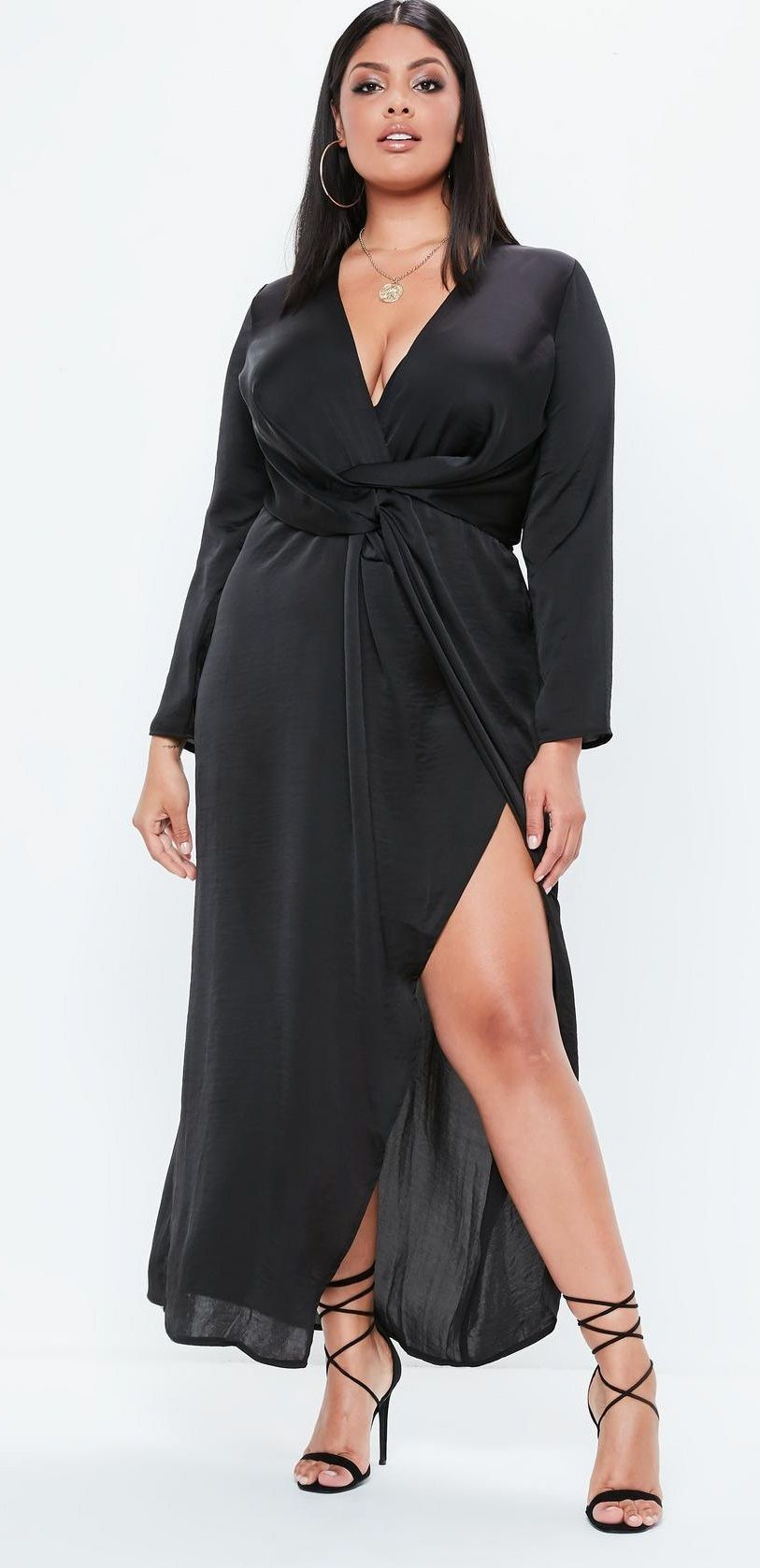11f7dd07c07 Plus Size Black Satin Thigh Split Wrap Maxi Dress - Plus Size Fashion for  Women  plussize