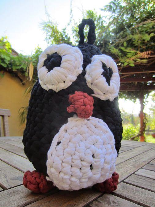Tux, pingouin, crochet, trapilho, fettuccia, zpagetti