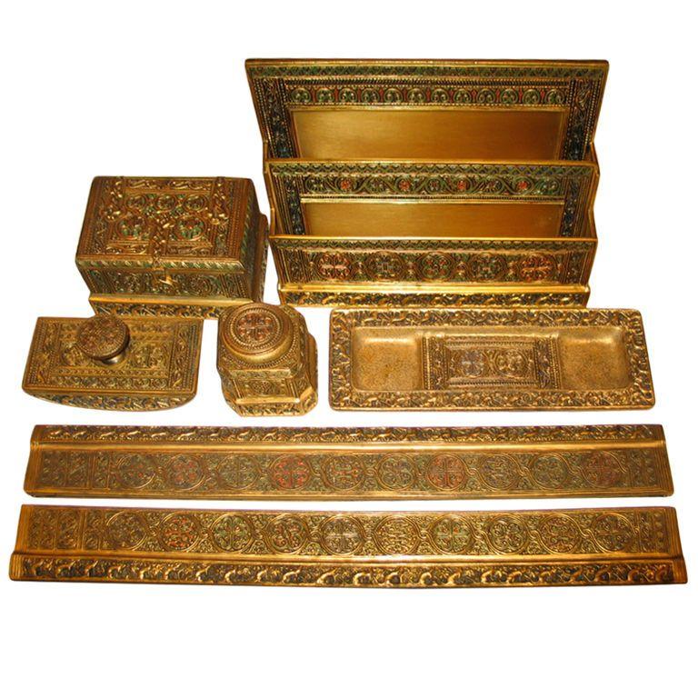 Tiffany Studios Venetian Desk Set, original (7 pieces) - Tiffany Studios Venetian Desk Set, Original (7 Pieces) Antique