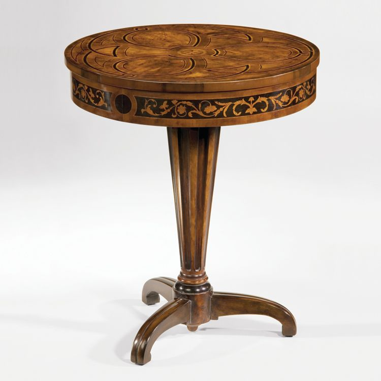 1918 Mina Table Wood Table Round Wood Table Pedestal Side Table