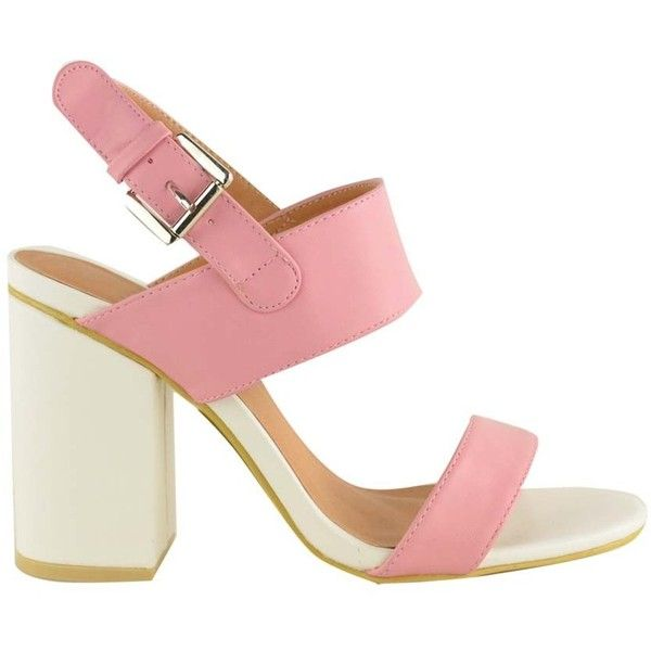 Pastel Pink White Faux Leather Chunky Block Heel Strappy Sandals Bella (£28) ❤ liked on Polyvore
