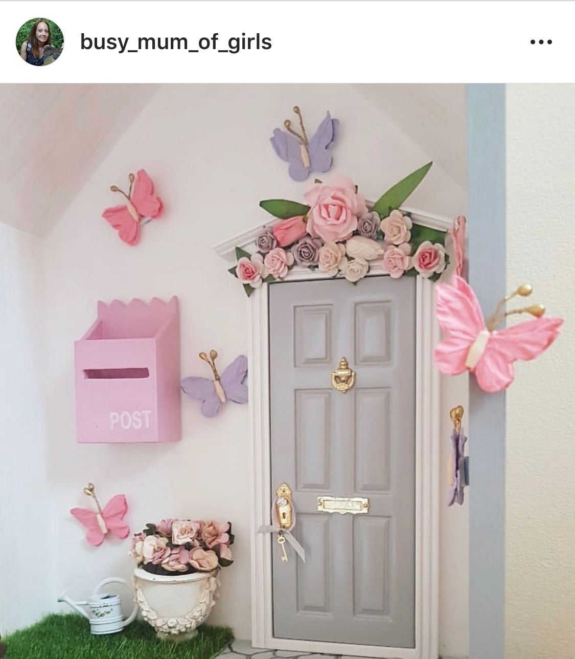The Prettiest Pink And Grey Fairy Door For Spring Adventures With The Fairies With Images Fairy Doors Fairy Door Accessories Fairy Door