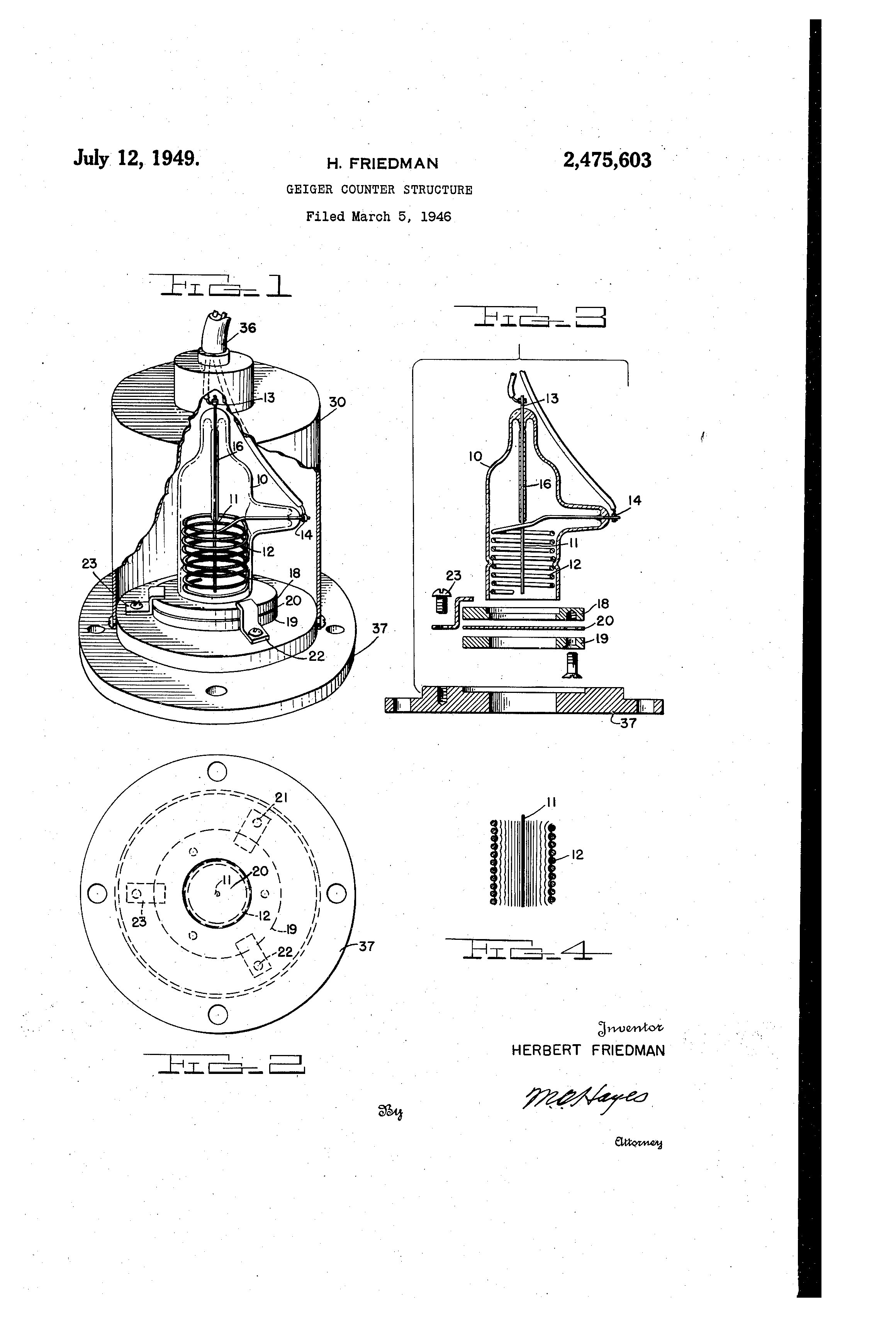 Patent Us2475603 Geiger Counter Structure Jul 12 1949 Geiger Counter Counter Aerial