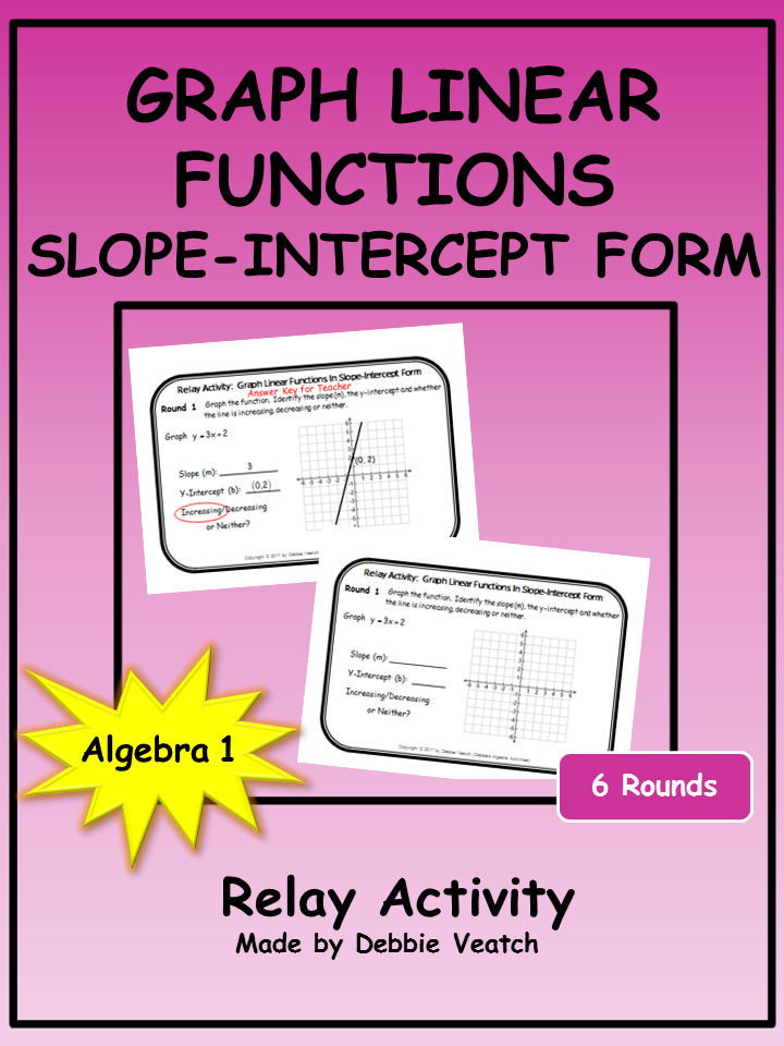 Graph Linear Functions In Slope Intercept Form Relay Activity