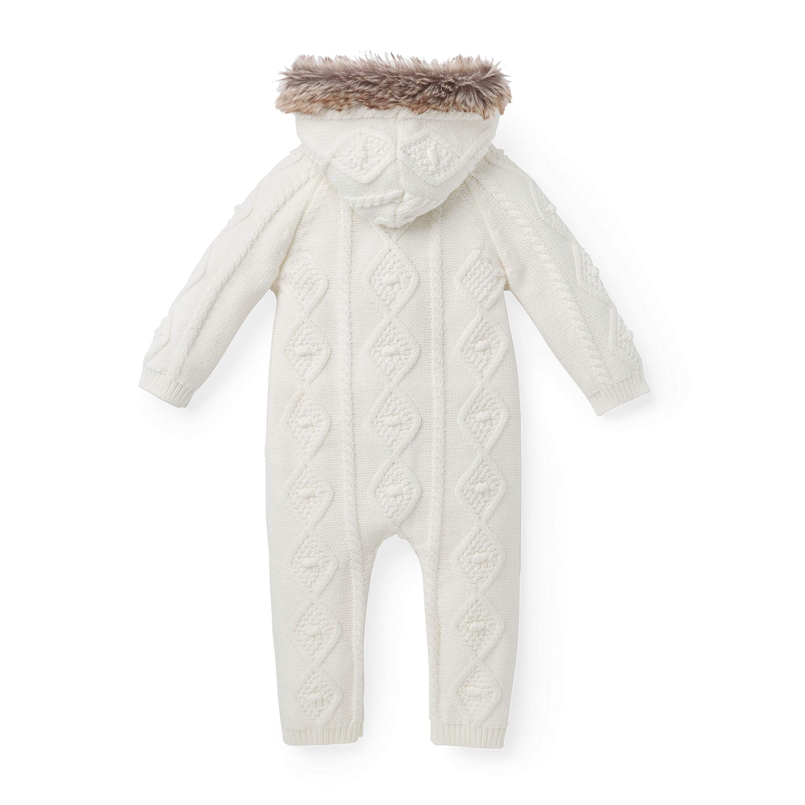 6902de647756 Hope and Henry Layette Faux Fur Trimmed Ivory Cable One Piece Made ...