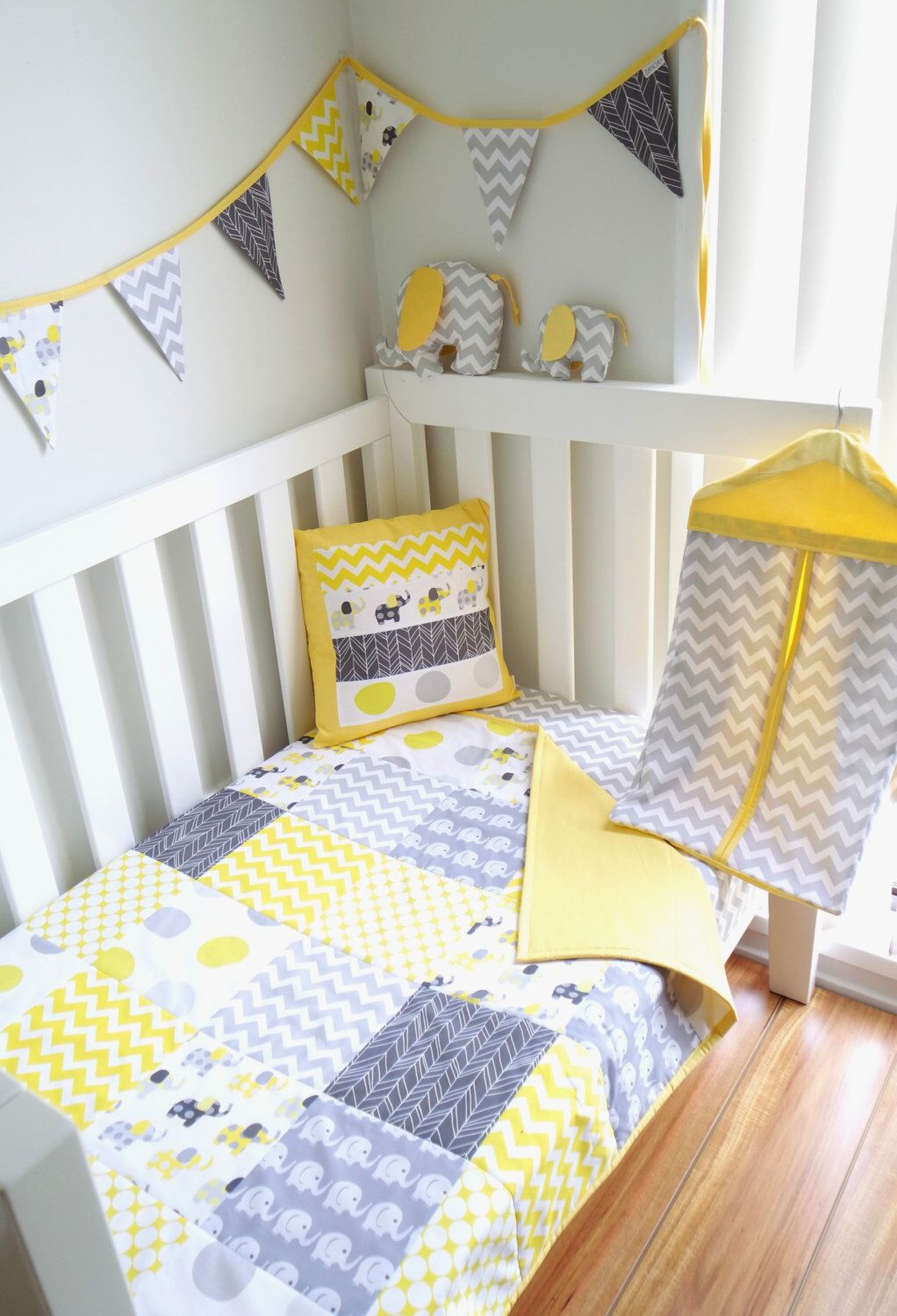 c923c1c90e5210 Yellow & Grey Patchwork cot / crib quilt with Elephants ...