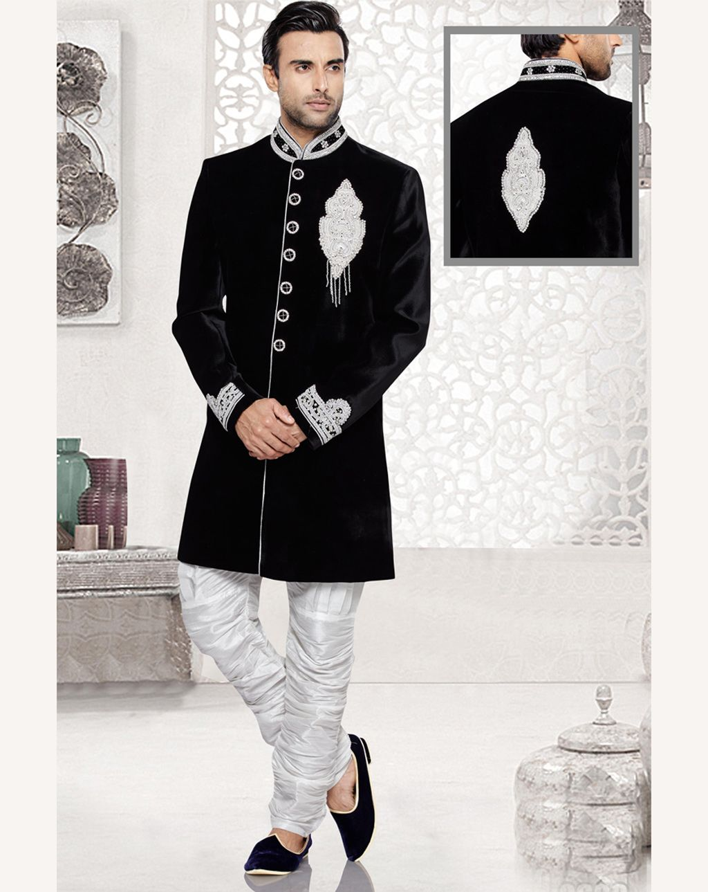 4d155b96a714d Buy Black Velvet Readymade Indo Western Suit 69411 online at lowest price  from our mens wear collection at Indianclothstore.com.