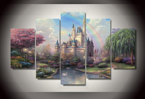 Disney Cinderella Castle 5 Panel Canvas Framed Art Walt Disney Home Decor Wall Art Gt Frame Printed Framed Canvas Wall Art Castle Painting Canvas Wall Art