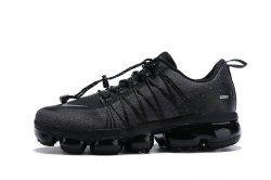 low priced 05383 3fafb Nike Air VaporMax Run FlyKnit Utility Triple Black Men s Running Shoes