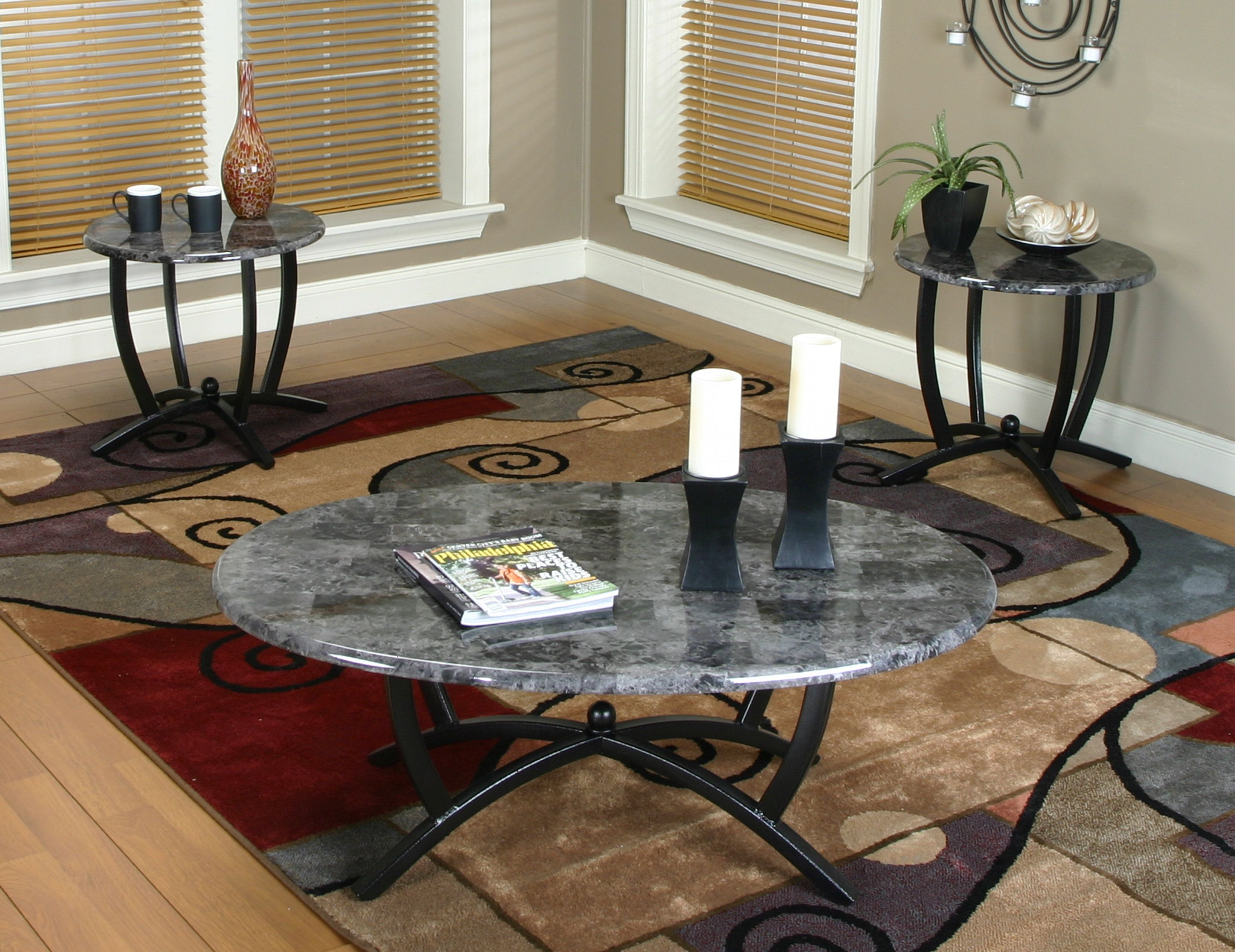 Ebony And Gray Marble Coffee Table Set  Electra 3 Piece Table Set Cool Living Room Table Sets Design Ideas