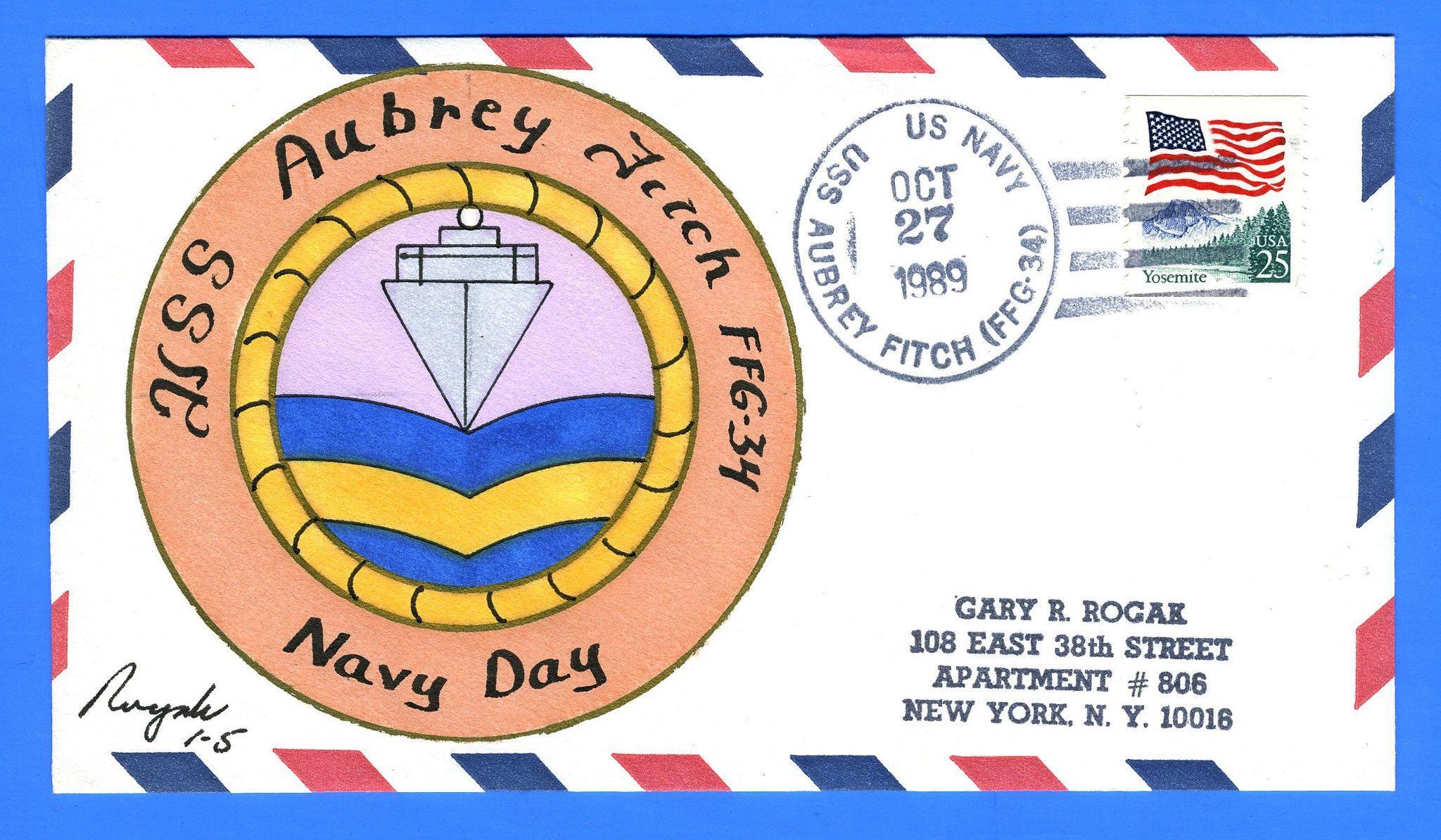 USS Aubrey Fitch FFG-34 Navy Day Oct 27, 1989 - Rogak Cachet