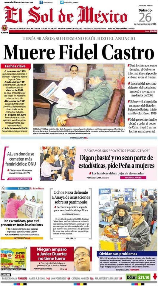 Portada del diario El Sol de México un día después de la muerte de Fidel Castro.