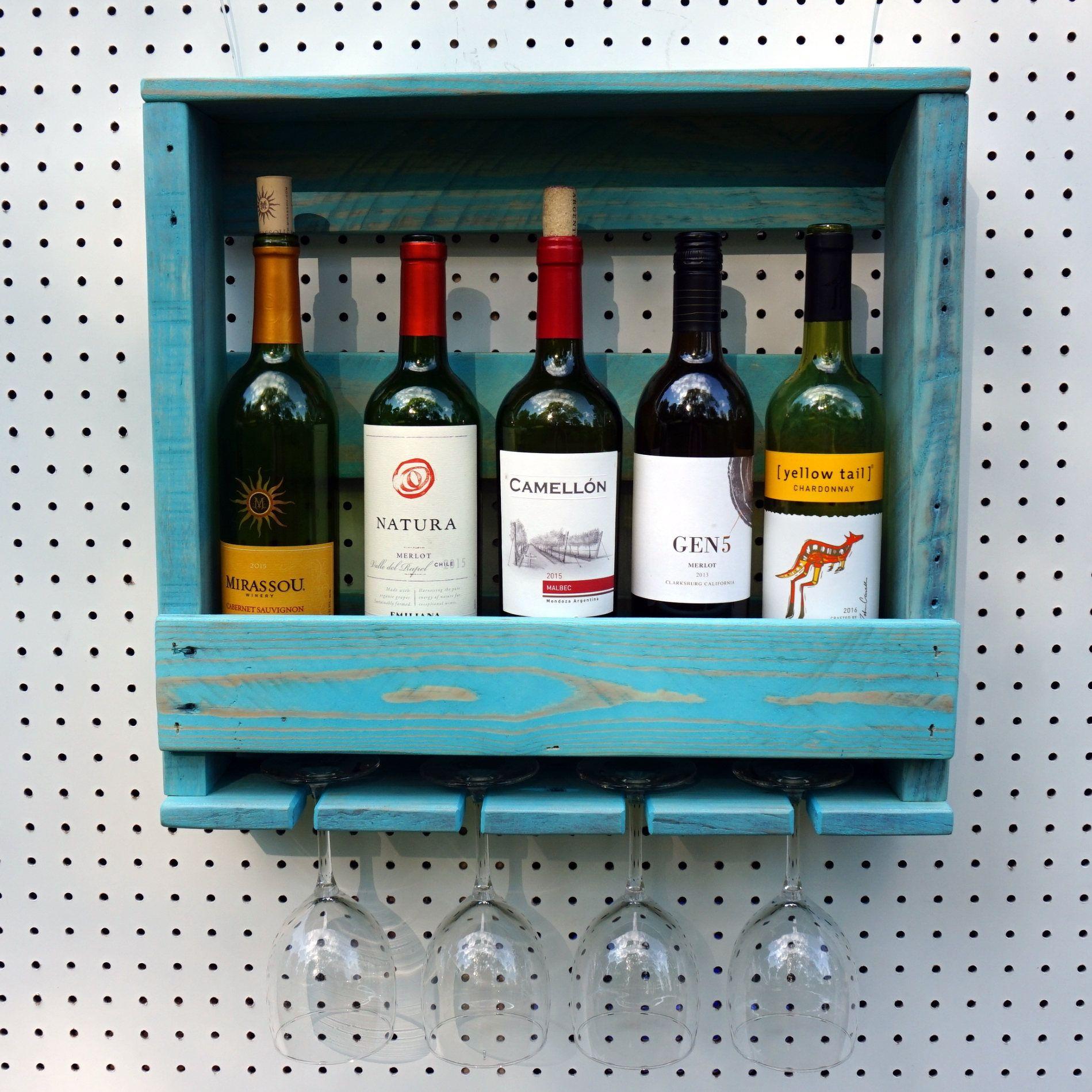 Rustic Wine Rack, Vintage Blue Color, Wood Wine Rack, Wall Wine Rack ...
