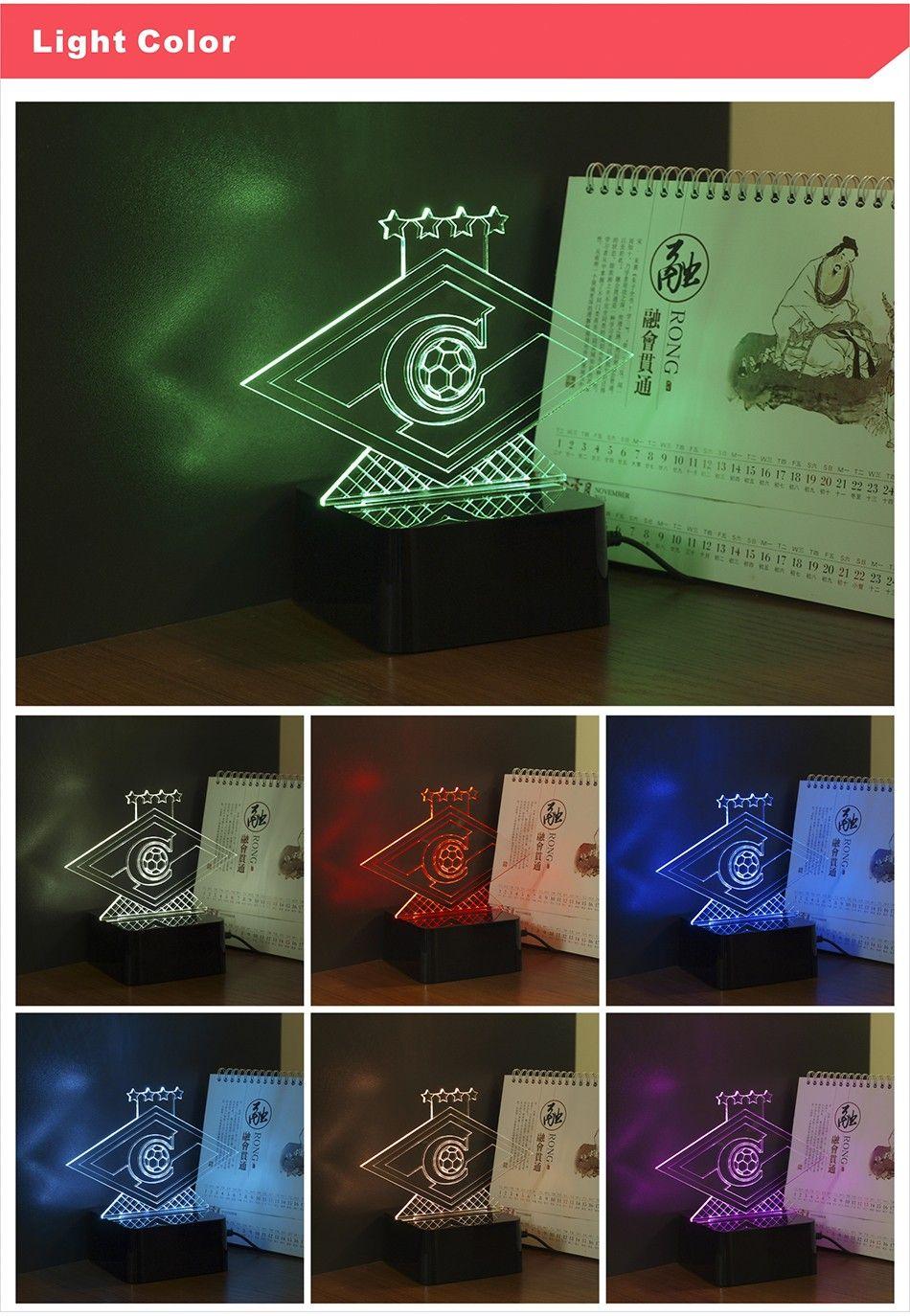 CNHIDEE Novelty USB Lampe 3D RGB Nightlight for Russia Spartak ...