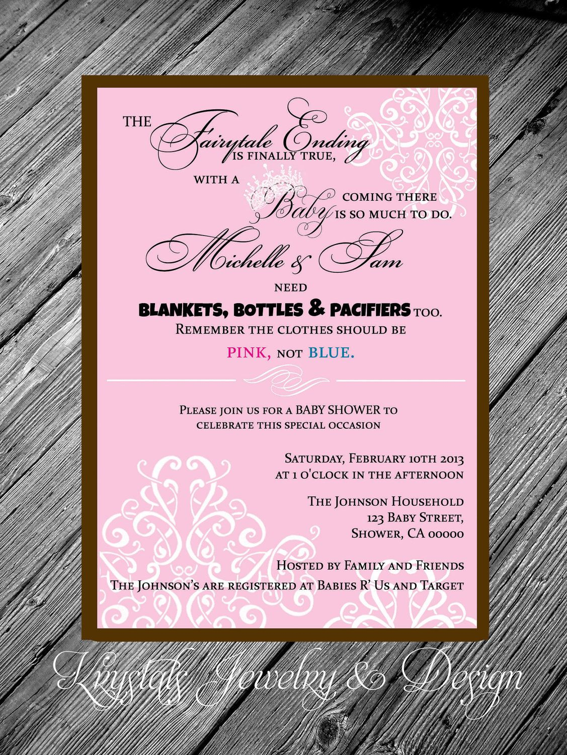 Fairytale Poem Damask Princess Theme Pink & Brown Baby Shower Girl ...