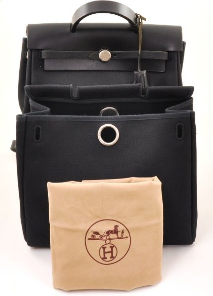 d55760a87ba Auth Hermes Herbag 2 In 1 Black Canvas Leather Backpack Hand Bag H304
