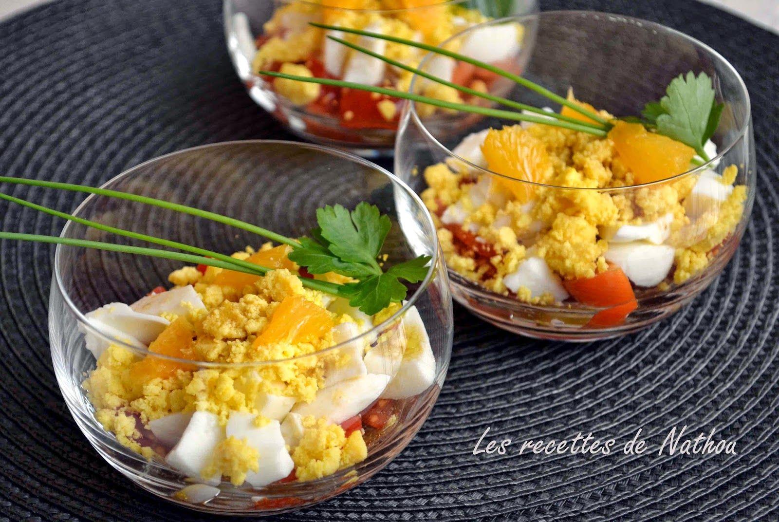 Verrines aux oeufs et à l'orange, vinaigrette balsamique