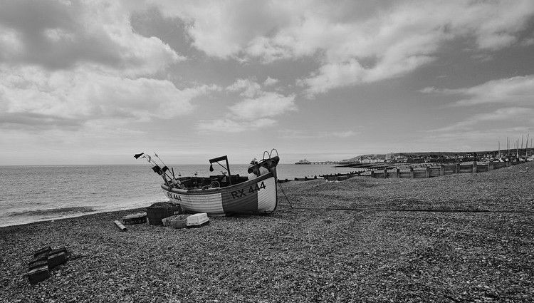 boat on the beach a scene taken in Eastbourne East Sussex