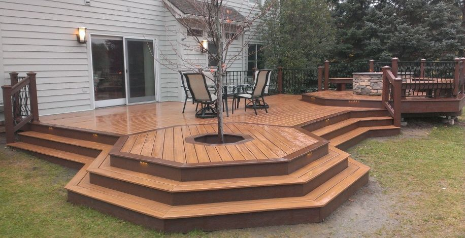 decks with fire pits | My first Trex deck & gas fire pit ...