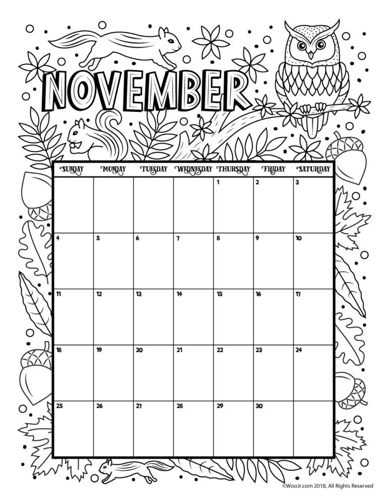 November 2018 Calendar Page Word Excel Template Lifetime Learning