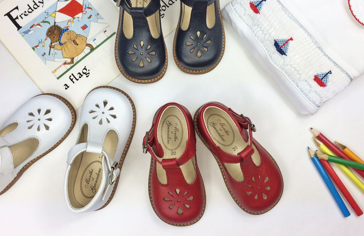 c78091c53246 Traditional t-bar shoes for children from Menthe et Grenadine