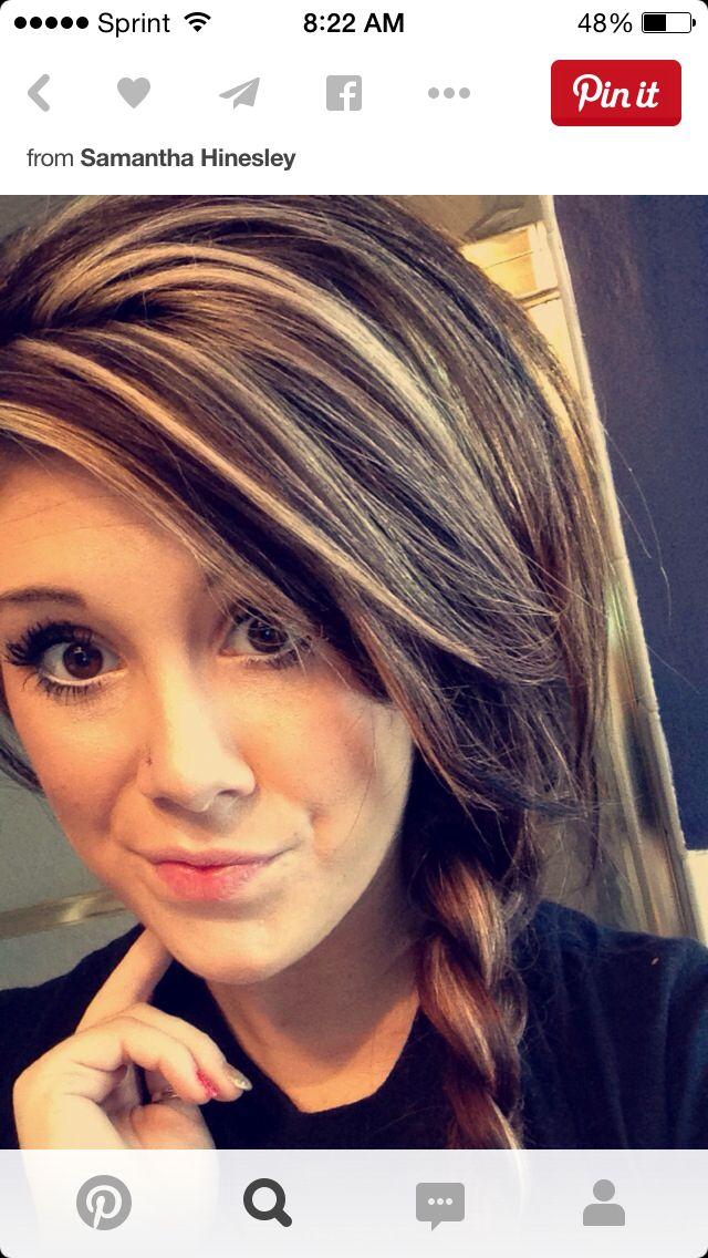 Brown Hair Bold Highlights Hair Pinterest Hair Brown Blonde
