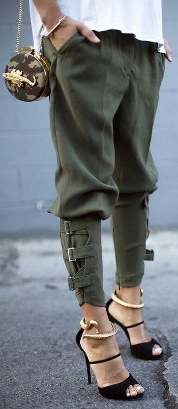 Hate the purse, pants have interesting ends but shoes are definitely the most intriguing piece.