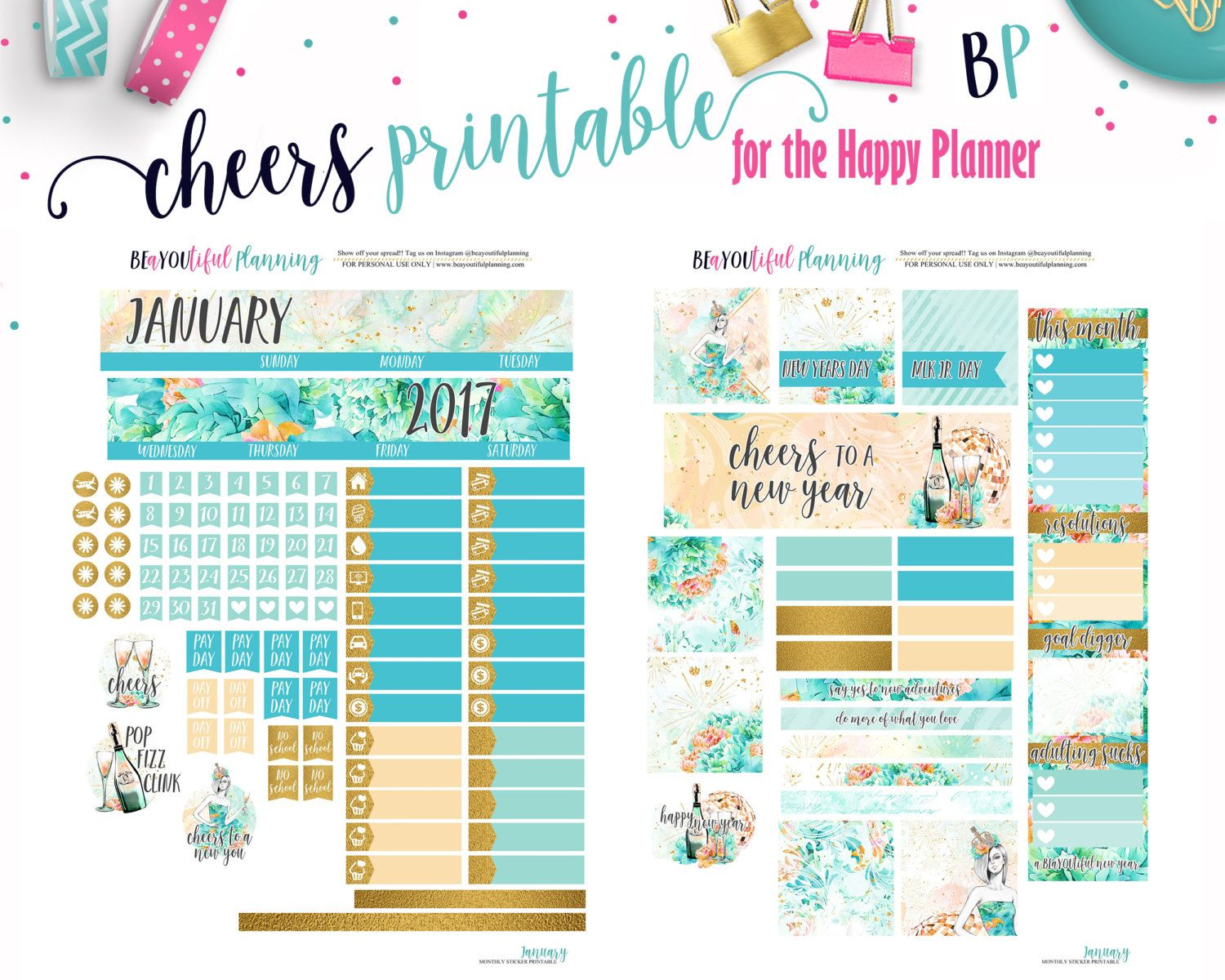 Mega Happy Planner January Resolution Monthly View Printable Planner Stickers Cut
