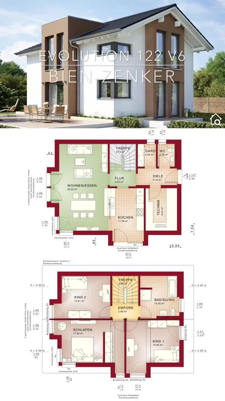 Photo of Modernes Haus mit Satteldach & Zwerchgiebel Erker bauen, Einfamilienhaus Grundriss modern offen