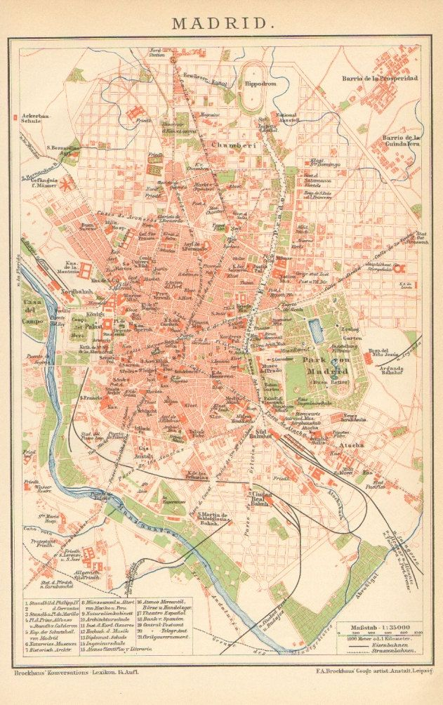 1905 City Map of Madrid Spain via Etsy MADRID Toledo