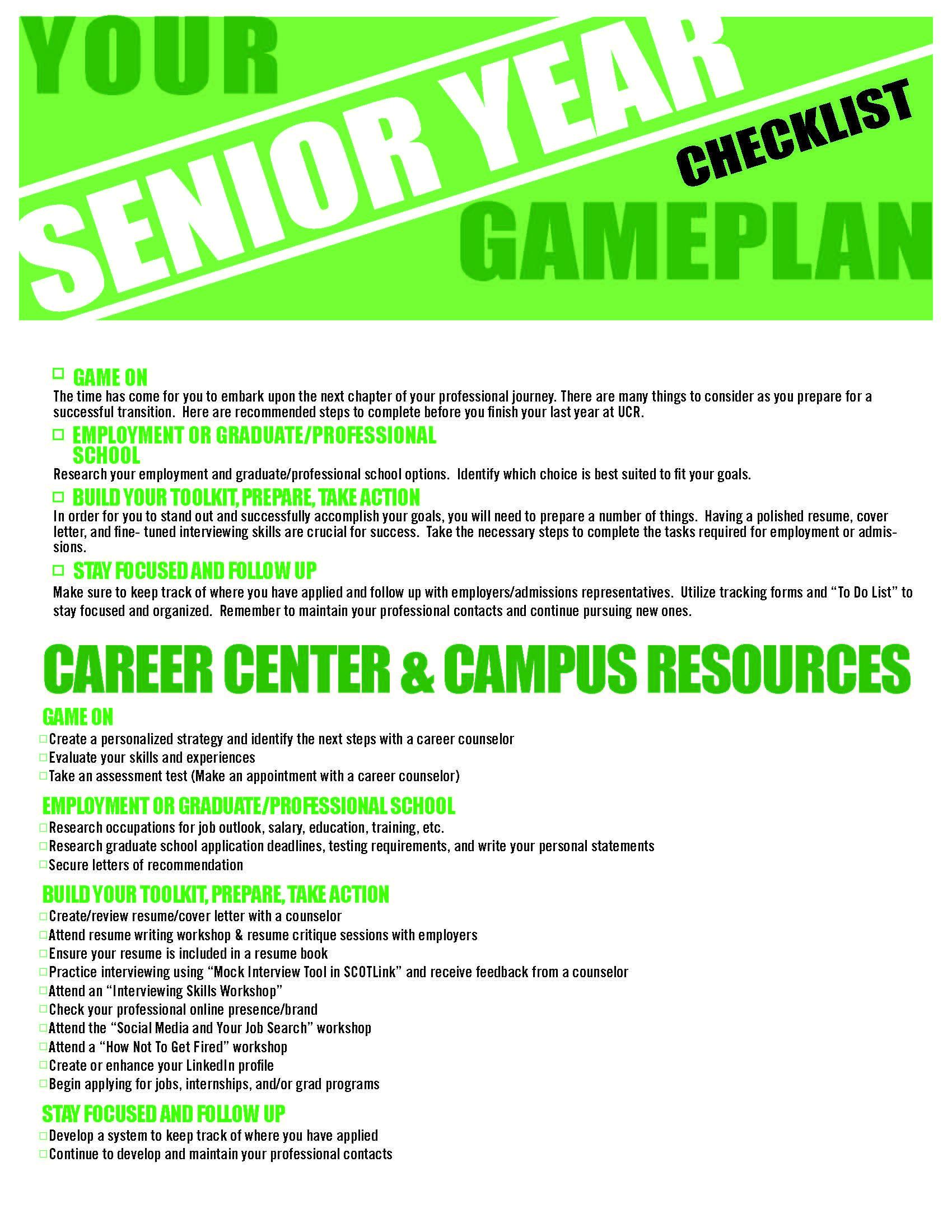 Senior Year Checklist