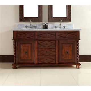 """Check out the James Martin Furniture 100-V60D-BCH-CAR Continental 60"""" Double Vanity in Burnished Cherry with Carrera White Stone Top - Vanity Top…"""