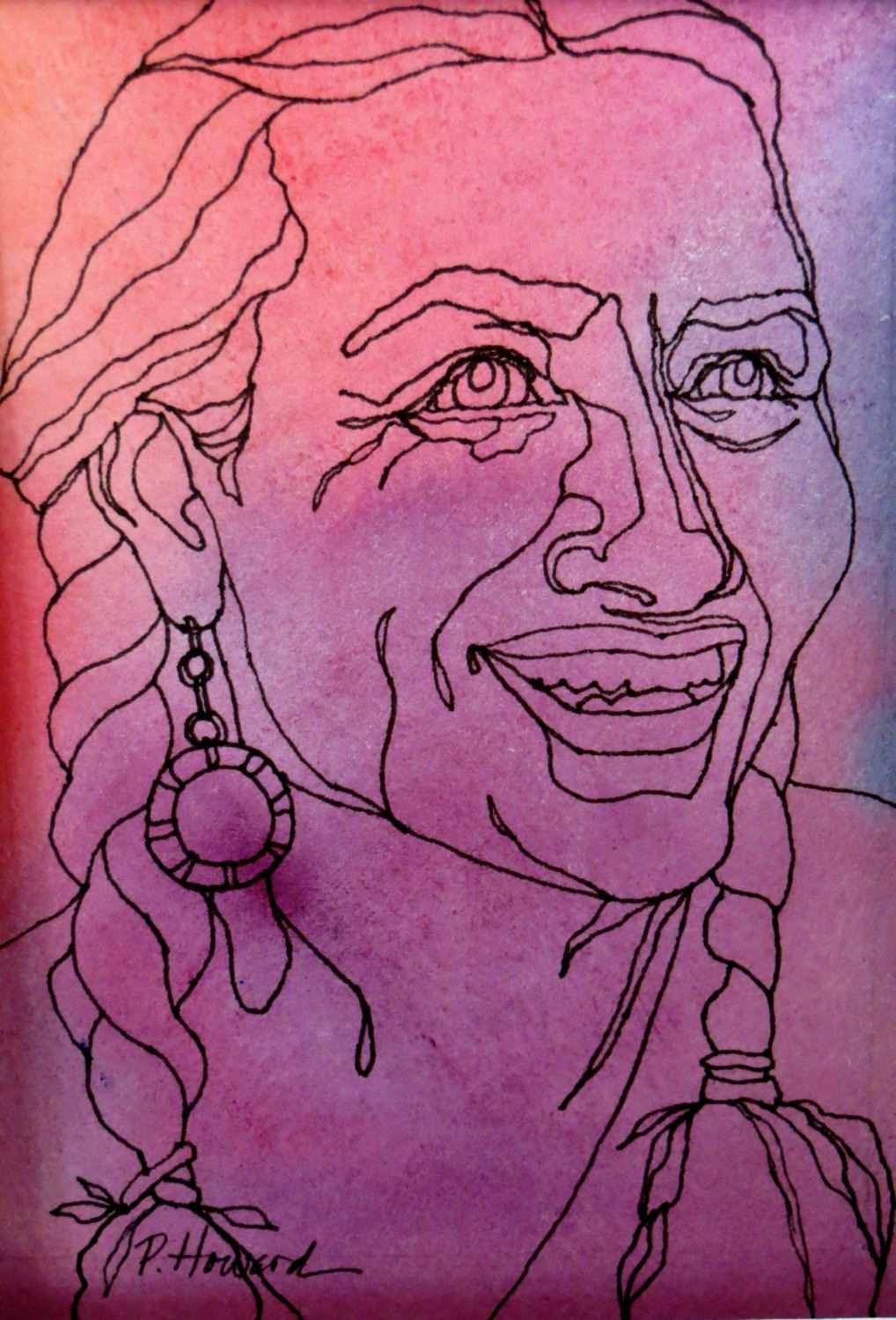 Contour Line Drawing Ink : Zuni woman an original artwork ink drawing on abstract